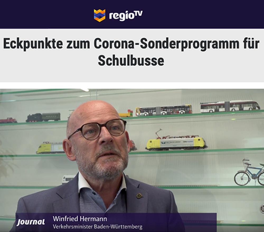 regioTV-Bericht über Corona-Sonderprogramm für Schulbusse